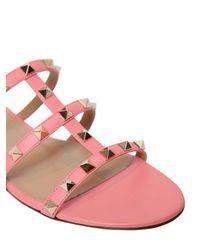 Valentino Pink 10mm Rockstud Leather Sandals