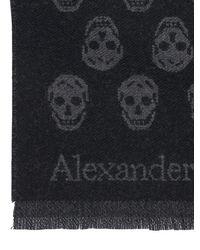 メンズ Alexander McQueen Skull リバーシブルインターシャウールストール Black