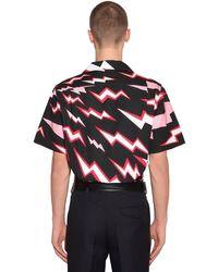 Camicia In Popeline Di Cotone di Prada in Black da Uomo