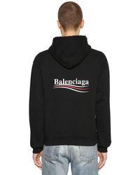 """Sweat-Shirt En Coton À Capuche """"Political"""" Balenciaga pour homme en coloris Black"""