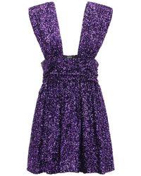 Amen スパンコールミニドレス Purple