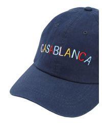 メンズ CASABLANCA コットンベースボールキャップ Blue
