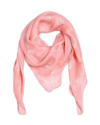 Alexander McQueen Pink Skull Printed Silk Chiffon Scarf