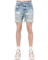 Shorts De Denim De Algodón Desgastados Amiri de hombre de color Blue