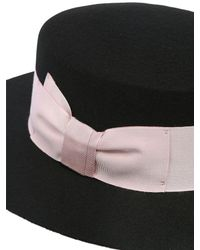 Federica Moretti - Black Wool Felt Boater Hat - Lyst
