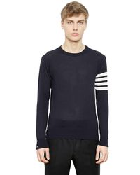 Thom Browne Blue Intarsia Stripes Wool Sweater for men