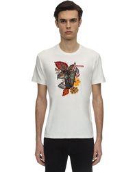 Etro White Embroidered & Flocked Cotton T-shirt for men