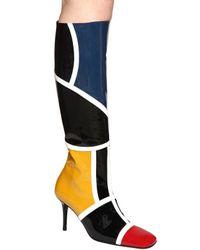 Dorateymur Black 85mm Hohe Stiefel Aus Lackleder