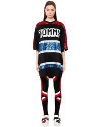 Tommy Hilfiger Black Tiger Sequined Oversized Knit Dress