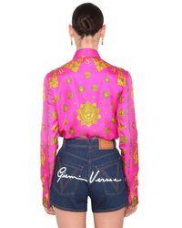 Camicia In Twill Di Seta di Versace in Pink