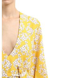 Borgo De Nor Yellow Bouquet Printed Crepe Midi Dress