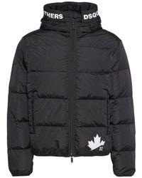 メンズ DSquared² Leaf ナイロンダウンジャケット Black