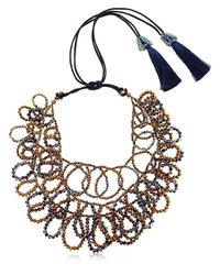 Night Market Flat Circles Beaded Necklace Multicolor