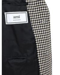 AMI Mantel Aus Wollmischung Im Hahnentrittmuster in Black für Herren