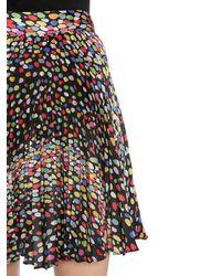 Marco De Vincenzo Black Printed Plissé Satin Skirt