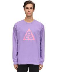 """Nike T-shirt Aus Baumwolljersey """"acg Nrg"""" in Purple für Herren"""