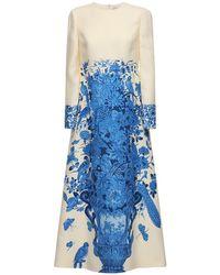 Valentino Delft クレープロングドレス Blue
