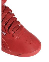 Reebok Red Freestyle Hi Og Lux Leather Sneakers