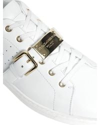 Dolce & Gabbana White London Plaque Leather Sneakers