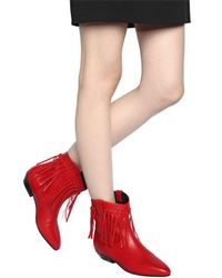 Saint Laurent Red 25mm Titi Fringed Leather Boots