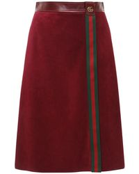 Gucci スエードスカート Red