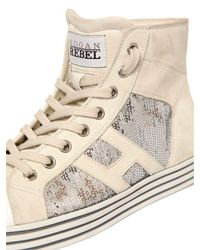 Hogan Rebel - White 20mm Sequined Suede Sneakers for Men - Lyst