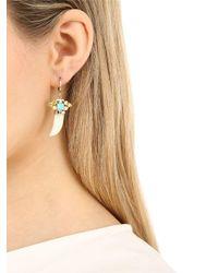 Iosselliani Metallic Horn-shaped Jade Pendant Earrings