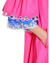 Peter Pilotto Pink Open Shoulders Embroidered Poplin Dress