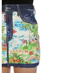 "Mini Jupe En Denim Imprimé ""Hawaii"" DSquared² en coloris Blue"