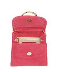 Little Liffner Pink Tiny Box Suede Shoulder Bag