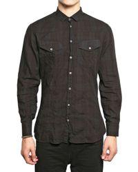 Neil Barrett | Black Cotton Check Shirt for Men | Lyst