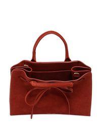 Mansur Gavriel Red Mini Suede Sun Top Handle Bag