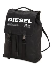 DIESEL Logo Cotton Backpack in Black für Herren