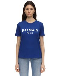 Balmain コットンジャージーtシャツ Blue