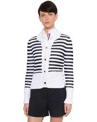 Thom Browne Blue Striped Cotton Mesh Cardigan