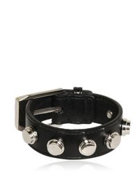 Saint Laurent | Black Buckled Leather Bracelet | Lyst