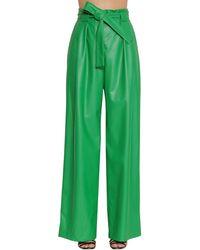 Pantaloni Vita Alta In Ecopelle di MSGM in Green