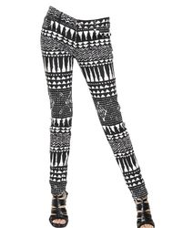 John Richmond - Black Printed Cotton Stretch Denim Jeans - Lyst