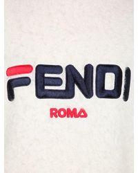"""Fendi White Oversized Strickpullover Aus Mohair """"fila"""""""