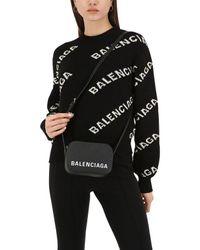 Balenciaga Black Ville Xs Aj Schultertasche Aus Strukturiertem Leder Mit Druck