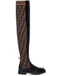 Fendi Black 30mm Leather & Knit Over The Knee Boots