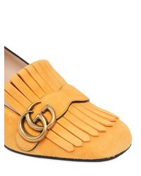 Gucci Yellow 55mm Marmont Fringed Suede Pumps