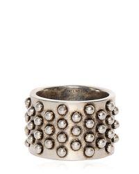 Alexander McQueen Metallic Studded Metal Ring for men