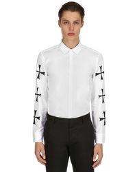 Neil Barrett Hemd Aus Baumwollpopeline Mit Sterndruck in White für Herren
