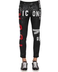 DSquared² Black 16cm Skater Waxed Denim Jeans for men
