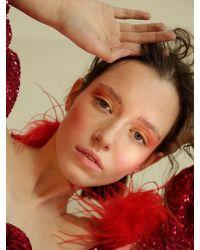 Boucles D'oreilles Avec Plumes D'autruche Tuleste en coloris Red