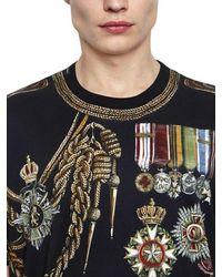 Dolce & Gabbana Black Military Printed Cotton Jersey T-shirt for men