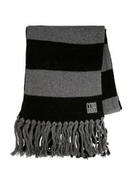 Golden Goose Deluxe Brand Gray Fringed Wool Knit Scarf