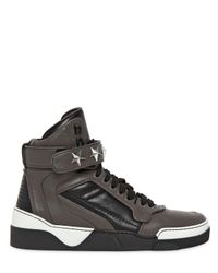 Givenchy Gray Tyson Two Tone Leather High Top Sneakers for men