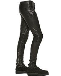 Iceberg Black Nappa Leather Biker Trousers for men